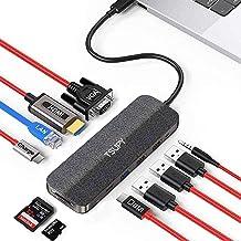 TSUPY HUB USB C 11 en 1 Diseño de Tela Tipo C HUB con 4K HDMI, VGA,Transferencia de Datos Tipo C, USB-C PD, 3 USB 3.0/2.0,...