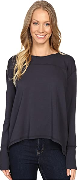 Cotton Modal Spandex French Terry Crossover Back Long Sleeve Pullover