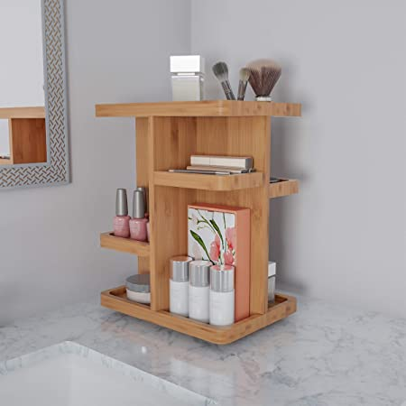 Lavish Home Makeup Organizer – Rotating Eco-Friendly Compact Modern Bamboo Skincare Cosmetic and Vanity Carousel for Bedroom, Bathroom, or Dorm