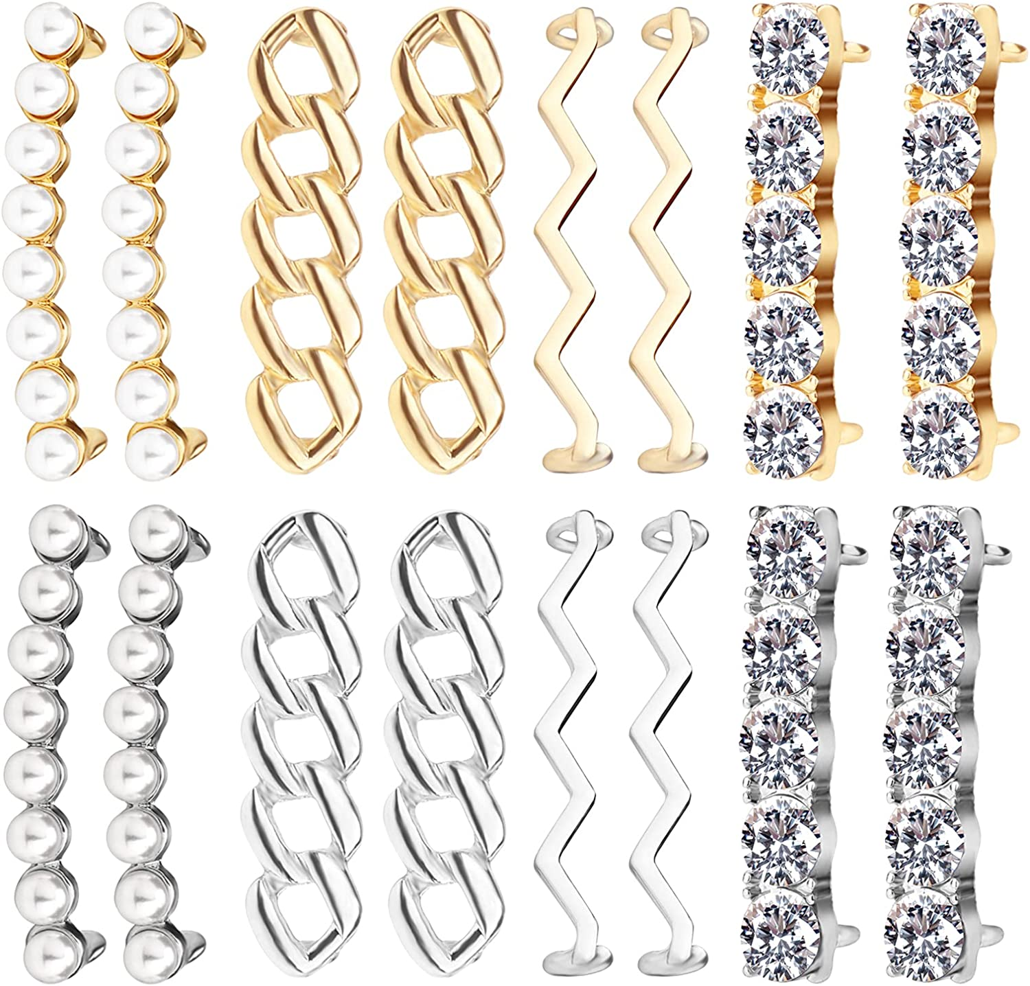 16 Pieces Metal safety Shoelaces Clips Max 67% OFF Gold Decorative Silver Shoe Clip