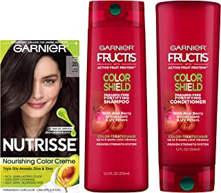 Garnier Nutrisse Hair Color & Fructis Color Shield Regimen Kit, 20 Soft Black (Black Tea), 3 count