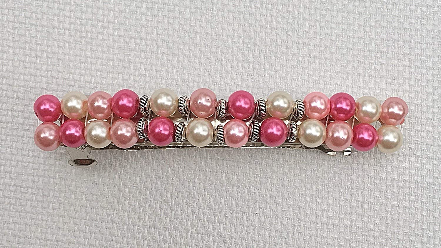 Pink Beaded Barrette Pearl Wedding Clip Clasp Limited price sale Hair Max 59% OFF Bridesmaid