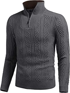 COOFANDY Men's Quarter Zip Sweater Slim Fit Casual Knitted Turtleneck Pullover Mock Neck Polo Sweater