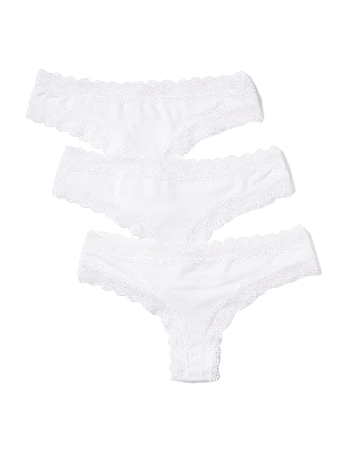 Amazon Brand - Iris & Lilly Women's Cotton Thong with Lace, Pack of 3