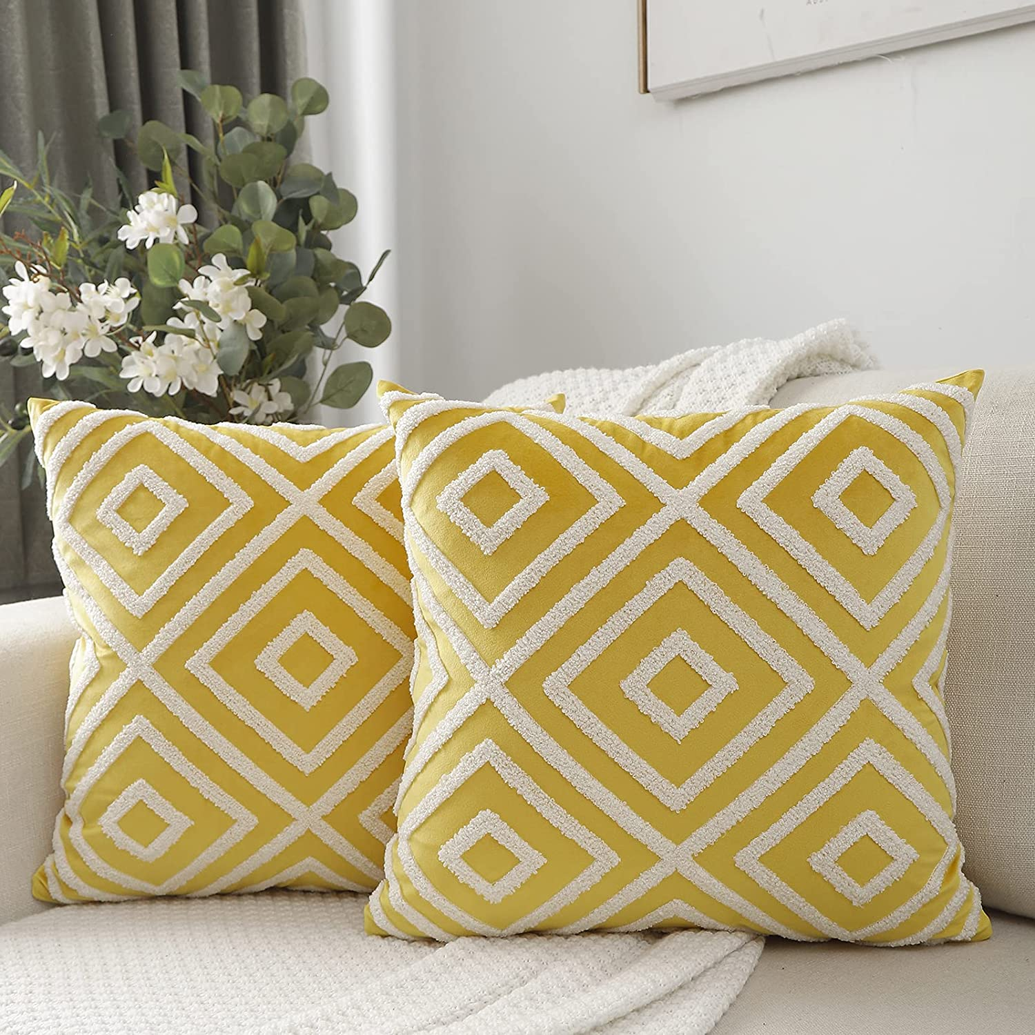 Vancl Outstanding Boho Tufted Decorative Yellow Pillow Ve Al sold out. Throw Covers 18x18