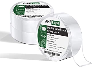 AH3 Tape 3 Rolls 29.5FT Nano Double Sided Tape for Walls - Transparent Ster Tape -Used as Sticky Wall Tacks, Poster Wall P...