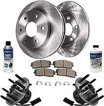 Detroit Axle - Front Wheel Hub Bearing Assembly, Disc Brake Kit Rotors w/Ceramic Pads w/Hardware & Brake Kit Cleaner for 2WD - Chevy GMC Escalade Avalanche Sierra Silverado Savana Tahoe Yukon XL 1500