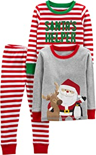 Baby, Little Kid, and Toddler Boys' 3-Piece Snug-Fit Cotton Christmas Pajama Set