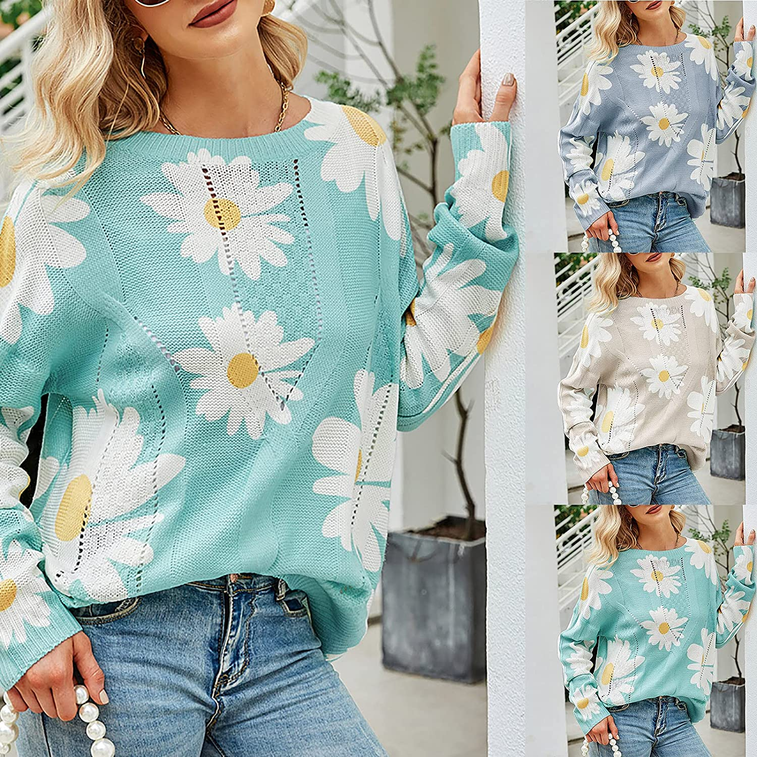 Women's Fashion Sweaters Casual O-Neck Daisy Printed Blouse Tees Loose Long Sleeve Hoodies Pullover