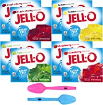 Jell-O Sugar Free Gelatin Variety Pack, Raspberry, Lemon, Lime, and Black Cherry, 0.3 Ounce, 2 of each with By The Cup Moo...