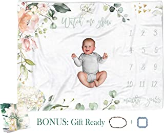 Baby Milestone Blanket - Girl Boy Monthly Yearly Memory Blanket with Props Growth Track - Large Soft Premium Fleece Baby Month Blanket Photo Backdrop Infant