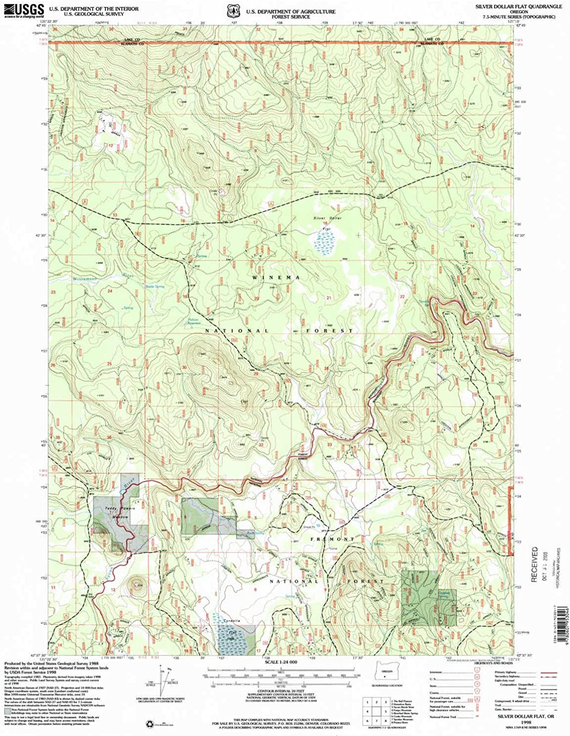 Silver Dollar Flat OR topo map, 1 24000 Scale, 7.5 X 7.5 Minute, Historical, 1998, Updated 2000, 26.6 x 21.9 in