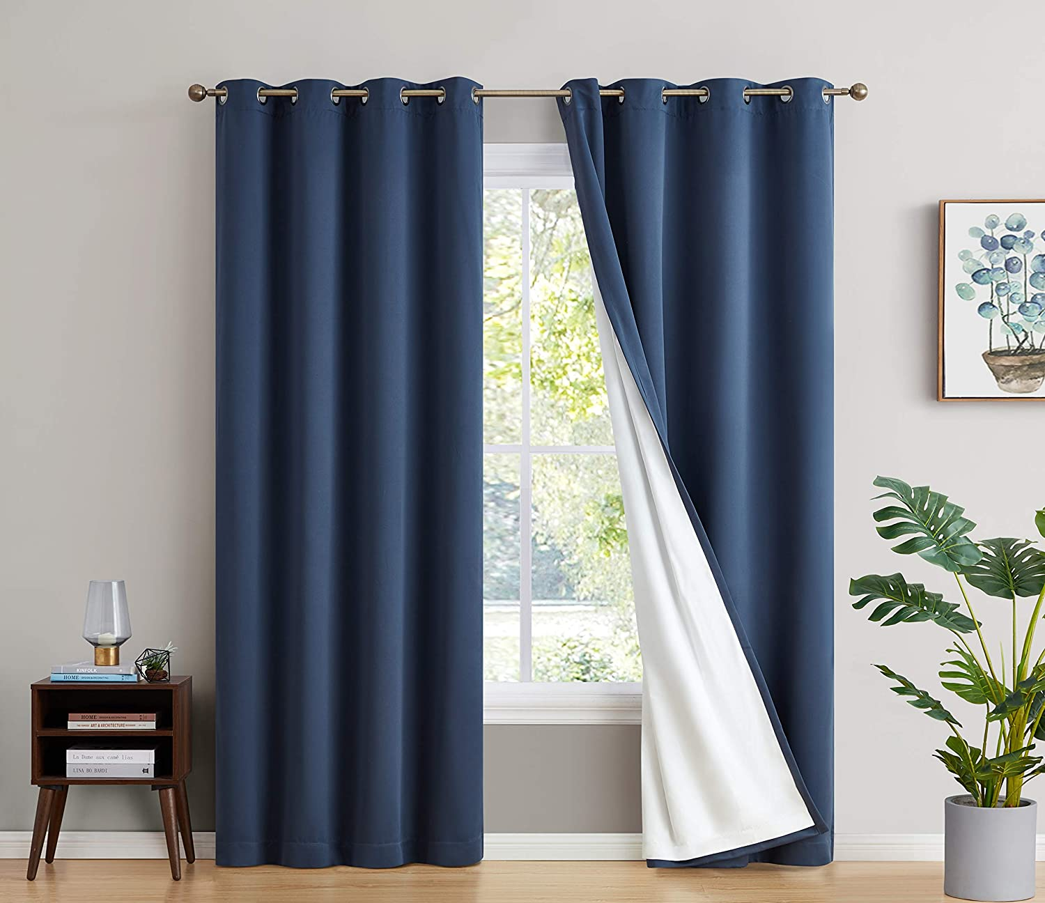 Max 89% OFF HLC.ME 100% Complete Blackout Lined Thick La Double with Max 58% OFF Drapery