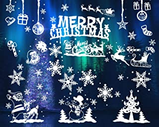 DIYASY 104 Pcs Christmas Snowflake Window Clings,Decals Stickers for New Year Window Decoration.