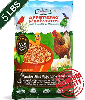 Mealworms -5 Lbs - 100% Non-GMO Dried Mealworms - Large Meal Worms - Bulk Mealworms -High Protein Treats- Perfect Mealworm For Chickens, Ducks, Wild Birds, Blue Birds, Lizards - Bag of Mealworms 5 LBS