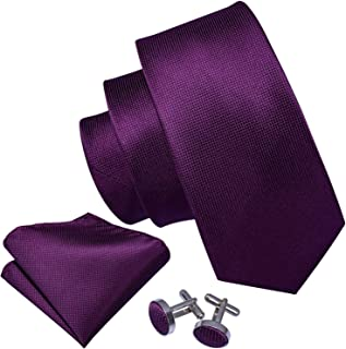 Barry.Wang Solid Colors Men Ties Handkerchief Cufflinks Necktie Set for Wedding Business