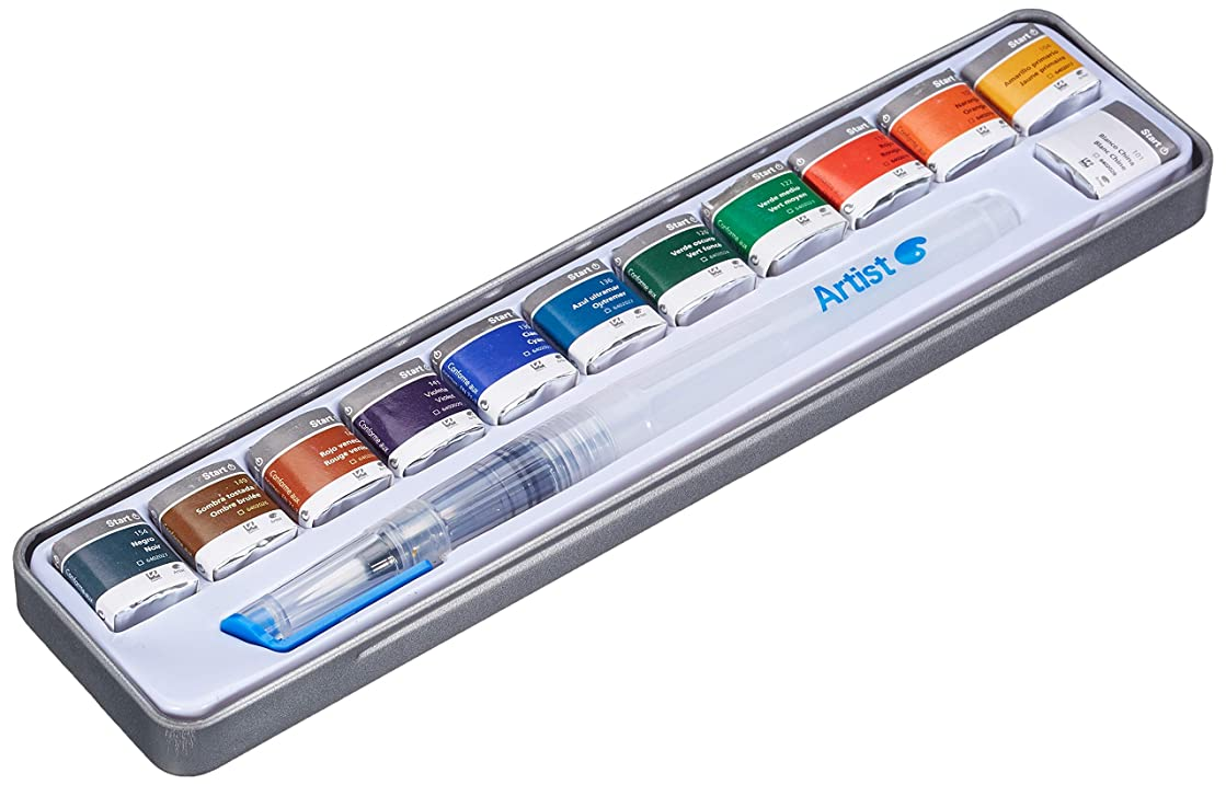 Artist 431015700 Box of 12 Watercolour Paints with Refillable Brush