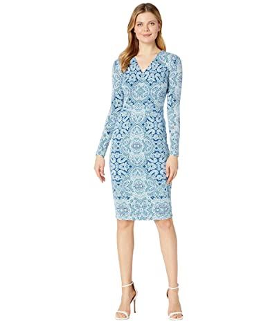 Maggy London Placed Paisley Jersey Sheath (Sapphire/Sea) Women