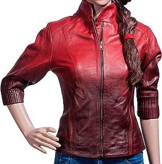 Red Women Leather Jacket - Two Toned Lambskin Jacket Women