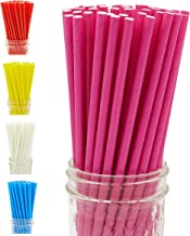 Oro Tree 200-Pack Biodegradable Paper Straws - Solid Color Drinking Straws - Bulk Paper Straws for Juices, Shakes, Smoothies, Party Supplies, Decorations, Birthday, Baby Shower, Eco-Friendly (Pink)