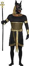 Smiffys Disfraz de Anubis el chacal, Negro, con túnica, Cuello, brazaletes, muñequeras y