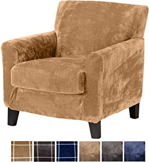Great Bay Home 2 Piece Modern Velvet Plush Strapless Slipcover. Stretch Furniture Cover. Sorrento Collection (Chair, Warm Sand - Solid)