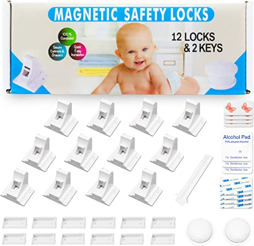 Eco-Baby Child Safety Magnetic Cabinet and Drawer Locks for Proofing Kitchen 12 Pack Child Latches