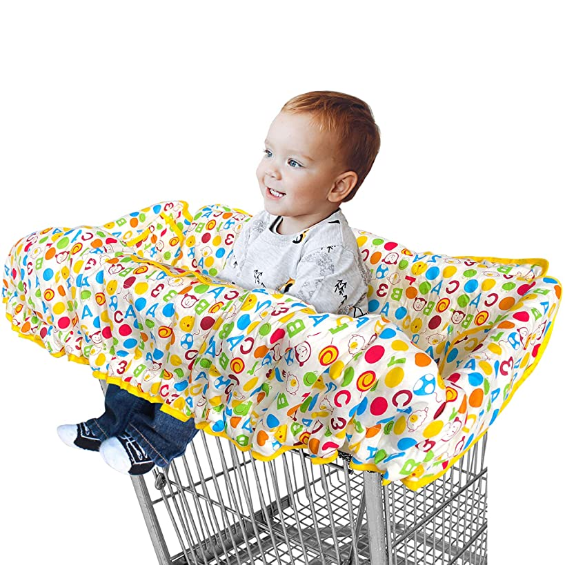 2 in 1 Shopping Cart Cover and Restaurant High Chair Cover for Baby and Toddler, Large Size, Premium Cotton Quality, Germ Protector, Safety Harness, Great for Boy or Girl by Comfe-N-Safe