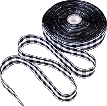 URATOT 50 Yards White and Black Plaid Burlap Ribbon Christmas Wrapping Ribbon Gingham Plaid Ribbon for DIY Crafts Decoration, Floral Bows(Color A, 1 Inch x 50 Yard)