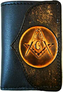 bf536541a7a20 Hilltop Leather Company Mens Handcrafted Leather Trifold Wallet Masonic  Mason