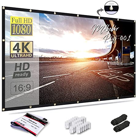 Mdbebbron 120 inch Projection Screen 16:9 Foldable Anti-Crease Portable Projector Movies Screens for Home Theater Outdoor Indoor Support Double Sided Projection