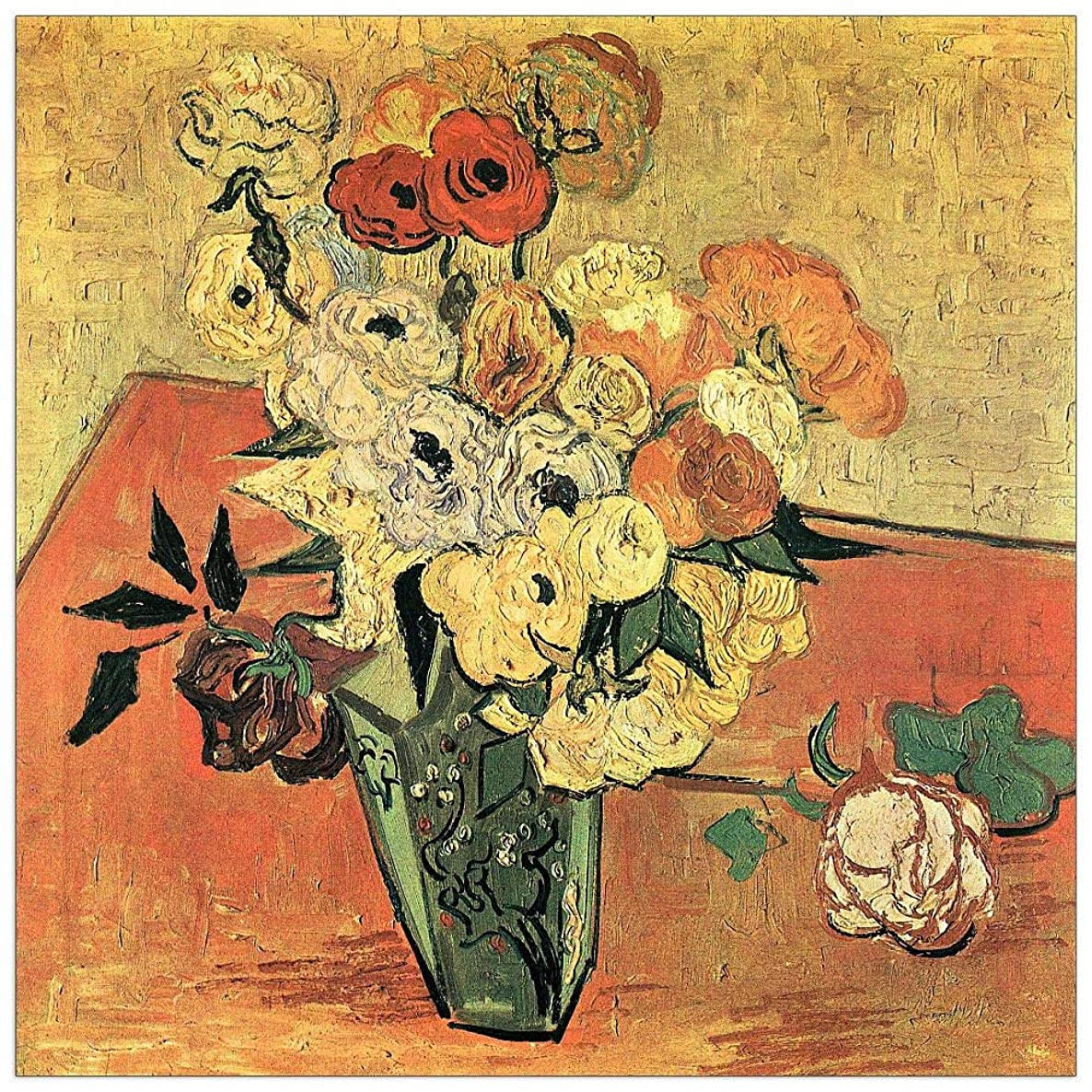 ArtPlaza TW91206 Van Gogh Vincent - Still Life with Japanese vase, Roses and Anemones Decorative Panel 31.5x31.5 Inch Multicolored