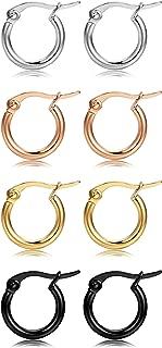4 Pairs 4 Colors Stainless Steel Small Hoop Earrings for Women Huggie Earrings 10MM-25MM