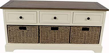 Décor Therapy Montgeomery Bench, White with British Brown Top