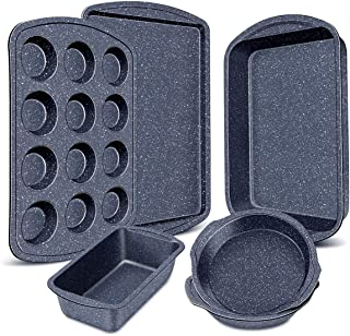 Nonstick Bakeware Set, 6-Pieces Set, Stylish and versatile Bakeware Set with 12-Cup Muffin Pan, Loaf Pan, 2 Round Cake Pans, Roasting Pan,Cookie Sheet, Kitchen Baking Tools. Navy Blue