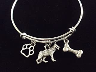 German Shepherd Dog with Bone and Paw Print Expandable Charm Bracelet One Size Fits All Adjustable Silver Bangle Dog Lover Gift