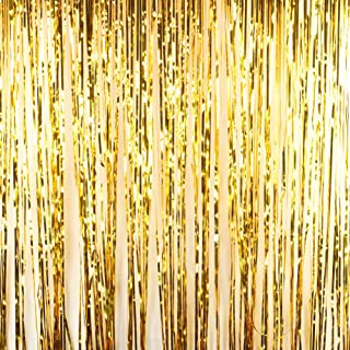 Andaz Press Gold Foil Fringe Party Door Curtain Backdrop, 2-Pack, 6-Feet Total Width x 8-Feet Height, Shiny Metallic Copper Champagne Themed Bridal Shower Supplies
