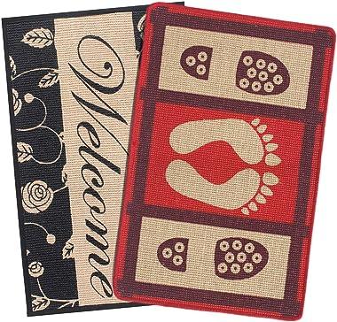 Saral Home Welcome Jute Anti-Skid Doormat Set of 2, 40X60 cm