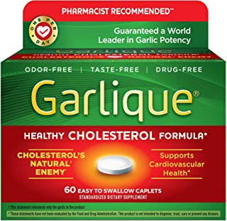 Garlique Healthy Cholesterol Formula with 5000 MCG of Allicin Enteric Coated Capslets, 60 Count