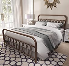 Vintage Sturdy Queen Size Metal Bed Frame with Headboard and Footboard Basic Bed Frame No Box Spring Needed,Antique Brown