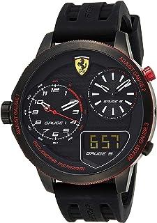 Ferrari Men's Black Dial Silicone Band Watch - 830318, Analog-Digital Display, Japanese Quartz Movement