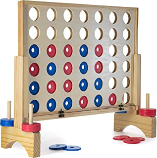 Prextex Giant 4 in A Row Wooden Family Game 3 Feet Tall Indoor/Outdoor Use Connect The 4 to Win Travel Bag Included