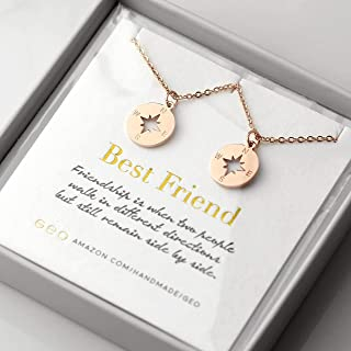 Best Friend Necklaces For Two Rose Gold Compass Necklaces For Women Best Friend Gifts BFF Necklace For 2 Friendship Necklace