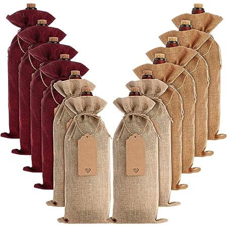 14 X 6 1//4 Pollici Sacchetti di Regalo Bottiglia di Vino Dellassia con Cordoncino REFURBISHHOUSE Sacchetti di Vino di Iuta 10 Pezzi