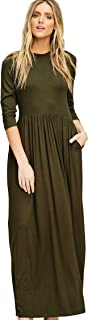 Annabelle Women's 3/4 Sleeve Round Neck Empire Waist Maxi Dress with Side Pockets