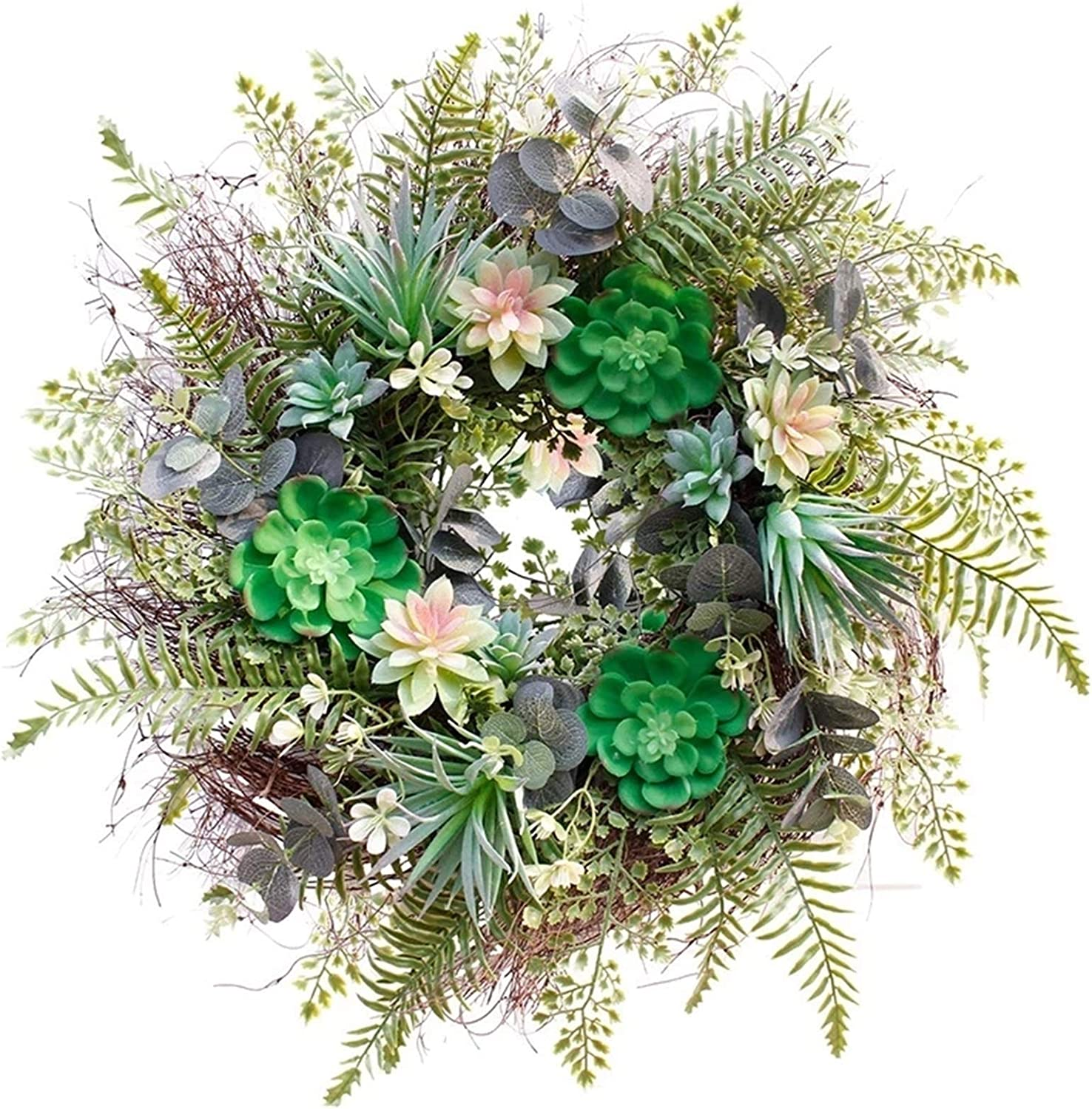 5% OFF whl Hanging Wreath 22 Inch Ranking TOP1 Succulent Artificial Fern Plan