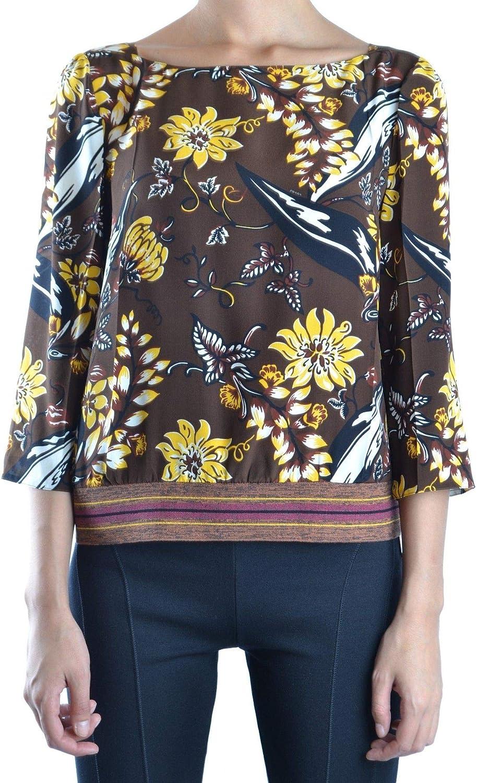 Prada Women's MCBI15698 Brown Silk Blouse