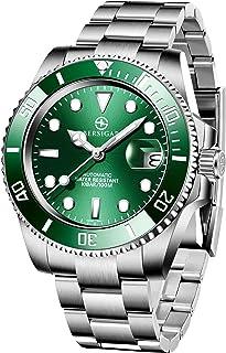 Montre Automatique pour Homme BERSIGAR, véritables Montres-Bracelets en Acier Inoxydable avec Calendrier de Date en Verre ...