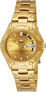 Seiko 5 Men's Gold Dial Stainless Steel Automatic Watch - SNZ450J1