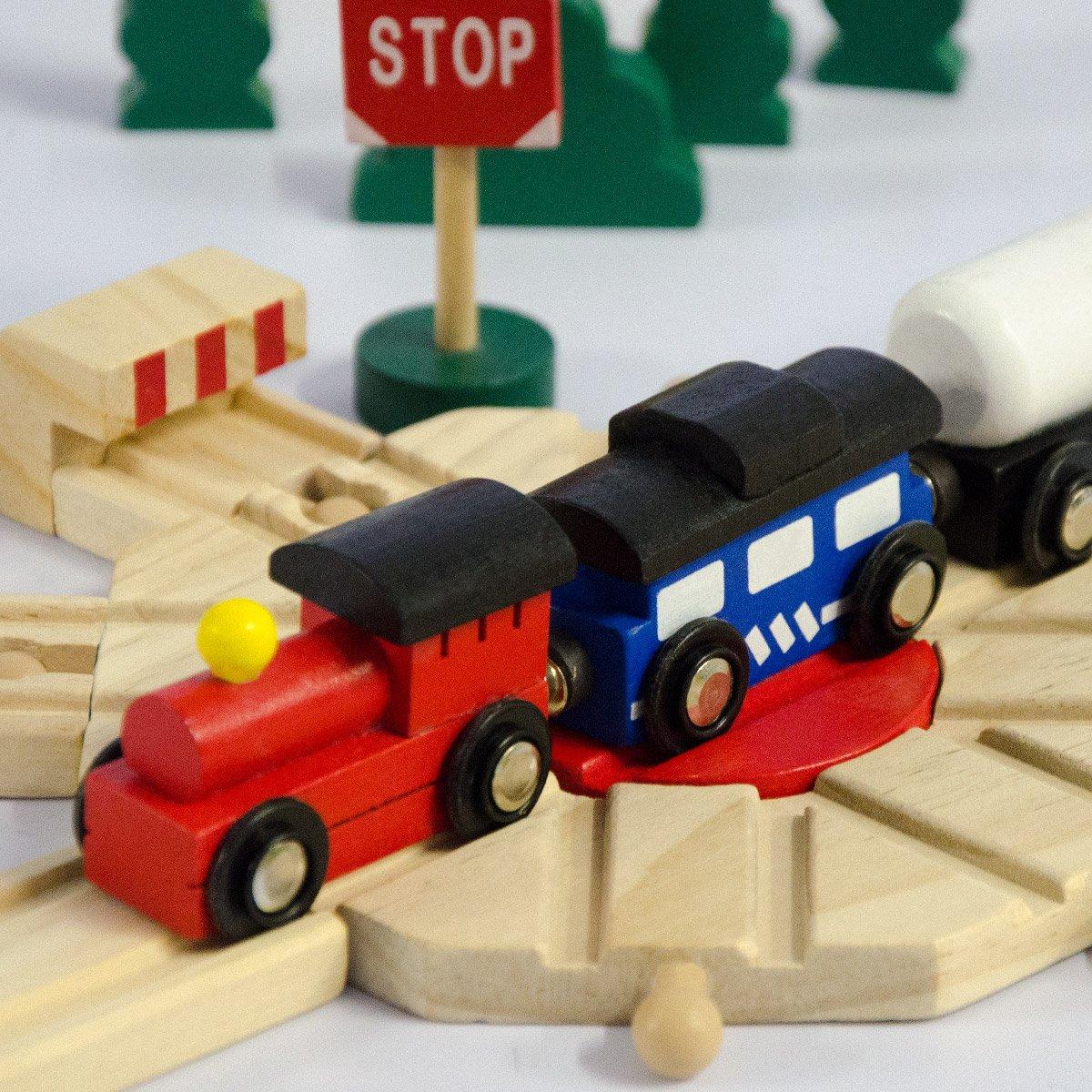 Accesorios 140x110cm 6m de v/ía f/érrea eyepower Tren de Madera 96 piezas Ferrocarril extensible ampliable combinable juego creativo